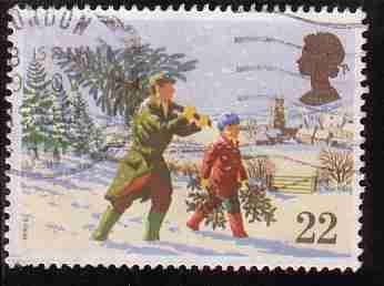 Timbre: Noël : homme portant un sapin et enfant du houx x3