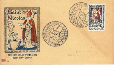 Timbre: St Nicolas Recherche tout type lettre ou FDC sur thème