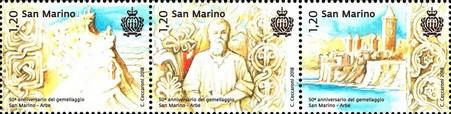 Timbre: 50th anniv. of the San Marino-Rab twinning   La Bande
