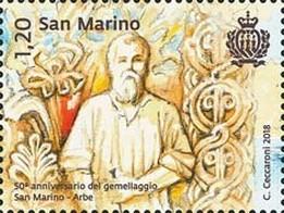 Timbre: 50th anniversary of the San Marino-Rab twinning