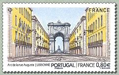 Timbre: Portugal-France : Arc de la rue Augusta