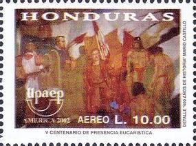 timbre: America UPAEP, 500 ans de préssence eucharistique