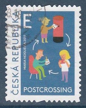 Timbre: Postcrossing, échange de courrier