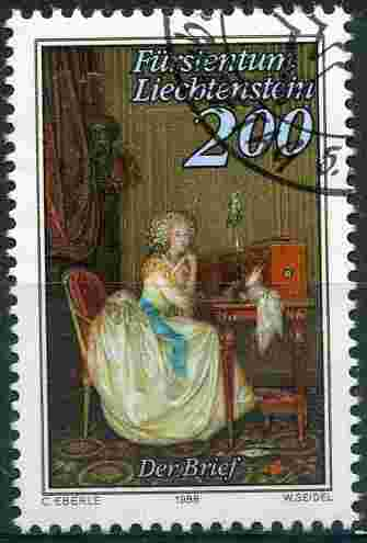 Timbre: La lettre , tableau d'Anton Hickel - Princesse de L