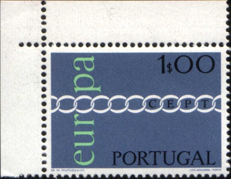 Timbre: Europa chaîne de ''O'' Coin de Feuille
