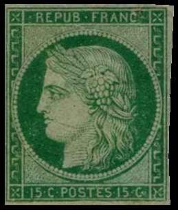 timbre:  Type Cérès - Légende REPUB FRANC.