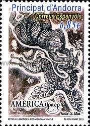 timbre: Union postale des Amériques, mythes et légendes