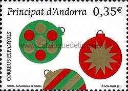 timbre: Noël : boules décoratives de sapin