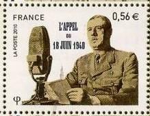 timbre: 70 ème anniversaire de l'appel du 18 Juin