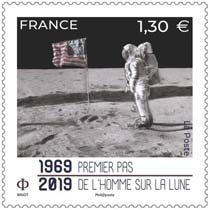 Timbre: 1969-2019 Premier pas de l'homme sur la lune
