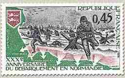 timbre: 30ème anniversaire du débarquement en Normandie
