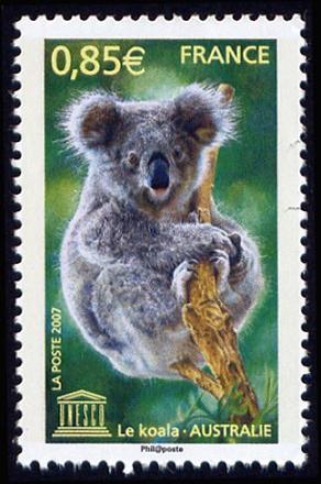 Timbre: Unesco - Patrimoine Mondial - Koala