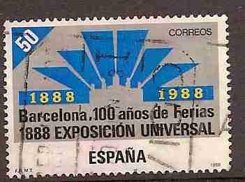 Timbre: 100e anniversaire d exposition universelle de Barcelone