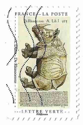Timbre: Cabinet de curiosité : Rhinocéros